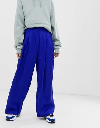 Weekday wide leg pants in bright blue