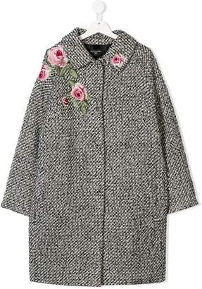 MonnaLisa TEEN rose embroidered cocoon coat