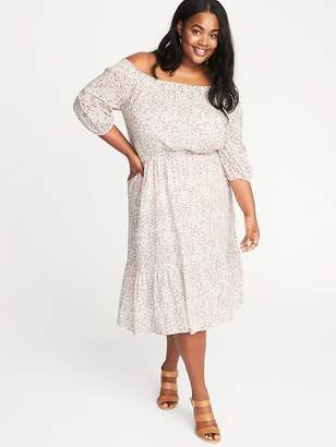 Old Navy Waist-Defined Off-the-Shoulder Plus-Size Dress