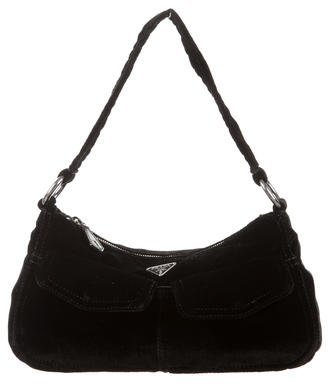 prada Prada Small Velvet Shoulder Bag