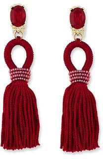 Oscar de la Renta Short Silk Tassel Drop Earrings $390 thestylecure.com