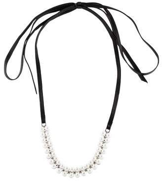 Fallon Monarch Faux Pearl Leather Wrap Choker Necklace