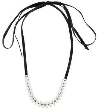 Fallon Monarch Faux Pearl Leather Wrap Choker Necklace