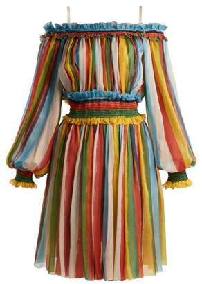 Dolce & Gabbana Striped Silk Chiffon Off The Shoulder Dress - Womens - Multi