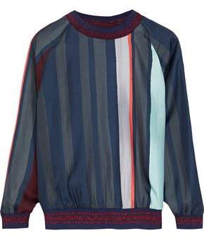 Raoul Metallic-Trimmed Striped Silk-Twill Top