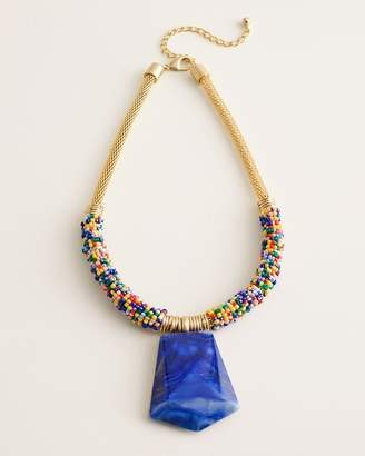 Chico's Chicos Reversible Beaded Muli-Color Pendant Necklace