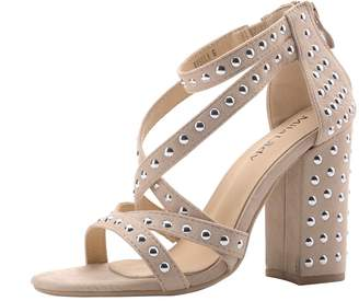 Glamorous Mila Lady Ursula Women's Platform Strappy with Studs Embellishment Block Chunky Heels,NUDE8