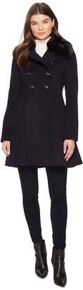 Via Spiga Military Inspired Wool A-Line w/ Faux Fur Women's Coat