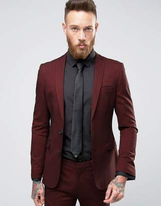 Super Skinny Suit Jacket In Burgundy Twist