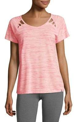 Andrew Marc Performance Space Dye Short Sleeve Strappy Tee