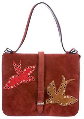 RED Valentino Grommet-Embellished Suede Satchel