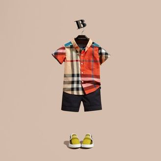 Burberry Short-sleeved Contrast Check Cotton Shirt $110 thestylecure.com