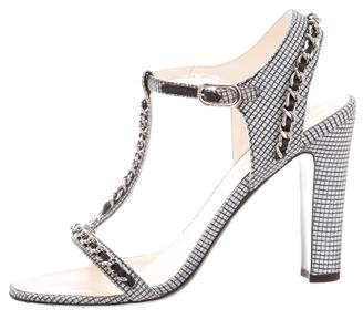 Chanel Chain-Link T-Strap Sandals