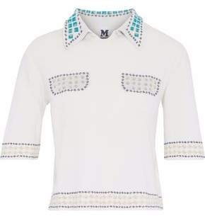 M Missoni Metallic Crochet-Trimmed Frayed Piqué Top
