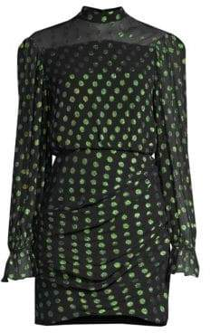Saloni Rina Metallic Polka Dot Mini Sheath Dress