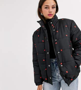 Daisy Street padded jacket in ditsy heart print