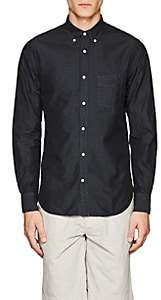 Officine Generale MEN'S DIAMOND-WEAVE COTTON POPLIN BUTTON-DOWN SHIRT-BLACK SIZE S