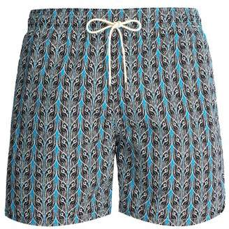 Le Sirenuse, Positano - Plait Print Swim Short - Mens - Black Multi