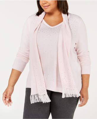 Karen Scott Plus Size Embellished Sweater & Scarf