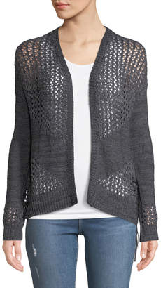 Anna Cai Openwork Lace-Up Cardigan