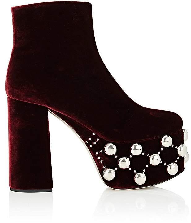 Miu Miu Women's Studded-Platform Velvet Ankle Boots