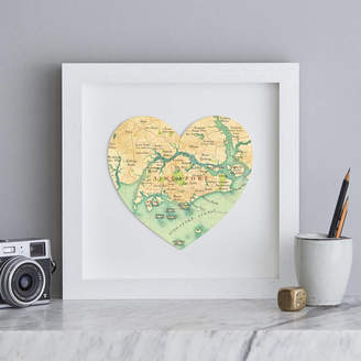 Bombus Personalised Location Singapore Map Heart Print
