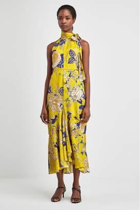 Whistles Womens Yellow Peria Exotic Floral Dress - Yellow