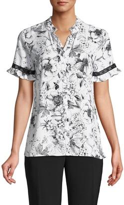 Karl Lagerfeld Paris Lace-Trim Floral Shirt