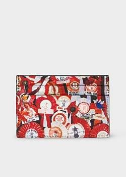Paul Smith & Manchester United – Men's 'Vintage Rosette' Print Leather Credit Card Holder