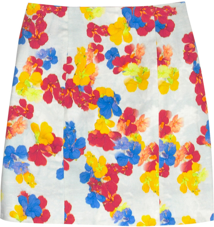 Erdem Adele printed stretch-cotton mini skirt