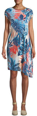Fuzzi Jungle-Print Jersey Asymmetric Dress