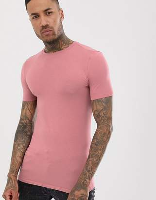 Asos Design DESIGN longline muscle fit t-shirt with crew neck in pink