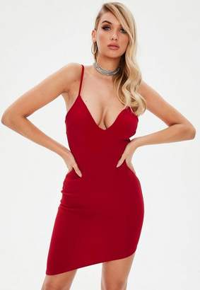 Missguided Red Strappy Plunge Asymmetric Hem Dress
