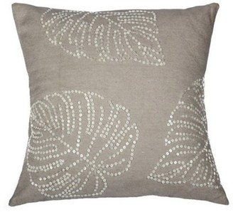 A1 Home Collections Handcrafted Cream Cotton 18-inch Leaf Pattern Sequin Throw Pillow