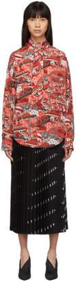 Balenciaga Red and White Silk Sticker Shirt