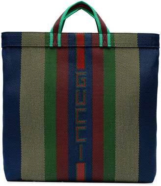 228719308 Gucci Multicoloured Stripe Logo Tote