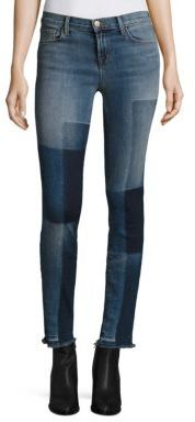 J BRAND 811 Shadow Patch Frayed Skinny Jeans/Reunion $228 thestylecure.com