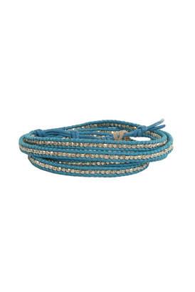 Chan Luu Aqua Leather Silver Bead Wrap Bracelet