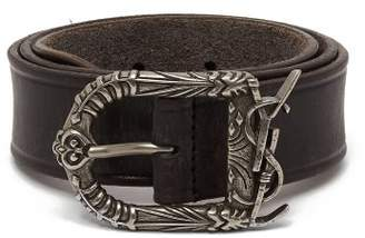 Saint Laurent Logo Buckle Leather Belt - Womens - Brown