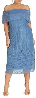 City Chic Plus Lady Lace Off-the-Shoulder Midi Dress