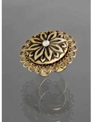 Lenora Dame gold filigree bone cocktail ring