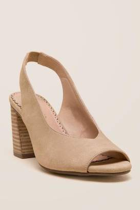 Restricted Columbia Slingback Peep Toe Heel - Taupe