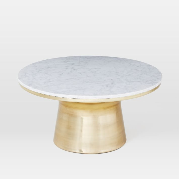 Marble Topped Pedestal Coffee Table-White Marble/Antique Brass Base