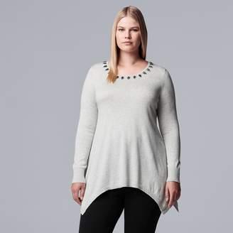 Vera Wang Plus Size Simply Vera Embellished Handkerchief-Hem Sweater