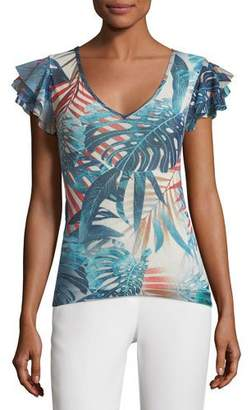 Fuzzi Ruffle-Sleeve Jungle-Print Top