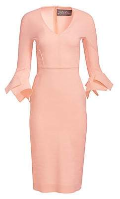 Lela Rose Women's Handkerchief Cuff Wool Crepe Sheath Dress