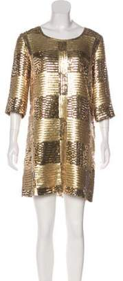 Jay Ahr Sequined Shift Dress Gold Sequined Shift Dress