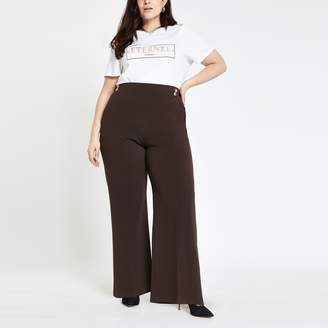 River Island Womens Plus Brown wide leg button trousers