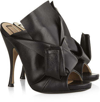 No.21 Black Leather Bow Mules