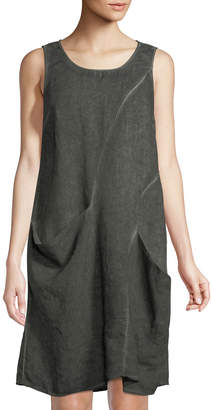 Neiman Marcus Sleeveless Draped Linen Dress
